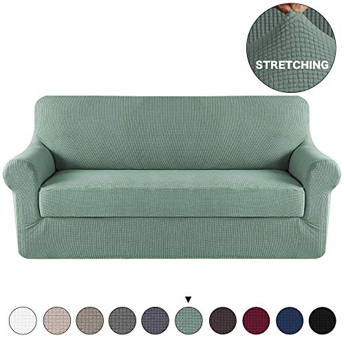 (Turquoize 2 Piece Sofa Slipcover Spandex Stretch Furniture Slipcover with Jacquard Small Check Pattern Sofa Cover High Stretch Living Room Couch Slipcover for 3 Cushion Couch Cover (Sofa, Dark Cyan))