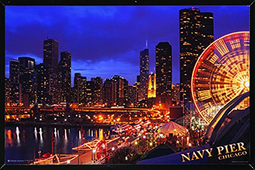 Chicago Navy Pier Poster  on a Black Plaque