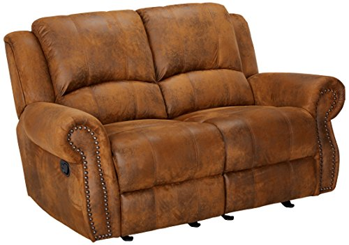 Dual Rocking Reclining Loveseat - Coaster Sir Rawlinson Casual Brown Gliding Reclining Love Seat with Nailhead Studs