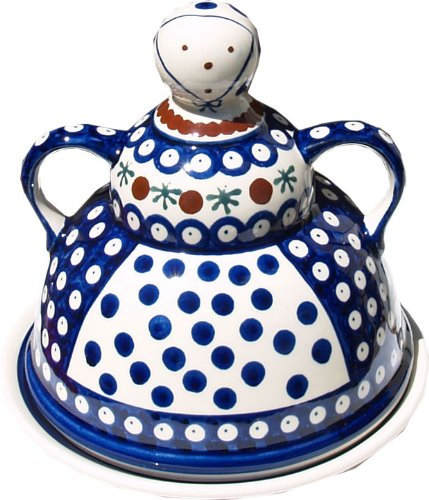 Cheap Polish Pottery Cheese Lady From Zaklady Ceramiczne Boleslawiec #847-41 Nature Pattern, Diameter: 6.85″