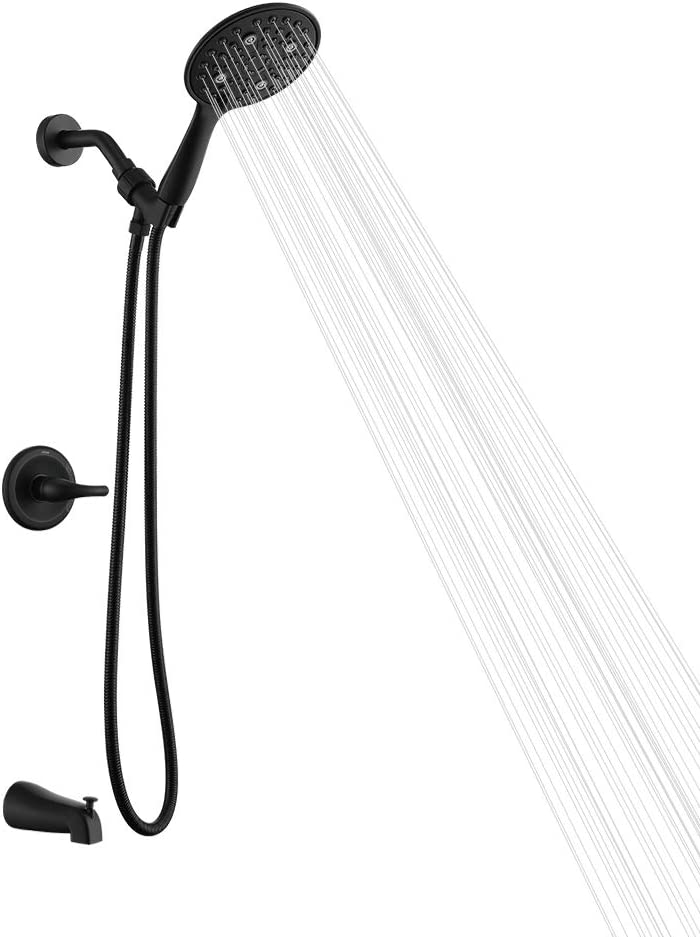 AIHOM Dual-Function Shower Faucet Set With Tub Spout,High Pressure 5-Spray Touch-Clean Handheld Shower Trim Kit With Valve Matte Black