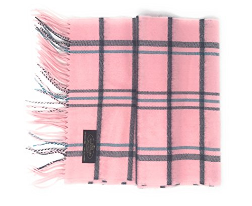 Annys 100% Cashmere Plaid Scarf 12x72 with Gift Bag - Men Cashmere - Cashmere Women (22 Colors) (Plaid - Pink/Grey/Blue) (Houndstooth Pink Check)