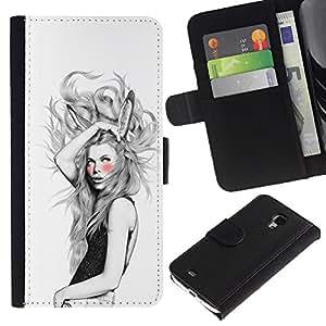 Stuss Case / Funda Carcasa PU de Cuero - Orejas de conejo Chica - Samsung Galaxy S4 Mini i9190