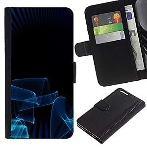 KingStore / Leather Etui en cuir / Apple Iphone 6 PLUS 5.5 / Líneas azules 3D arte oscuro minimalista