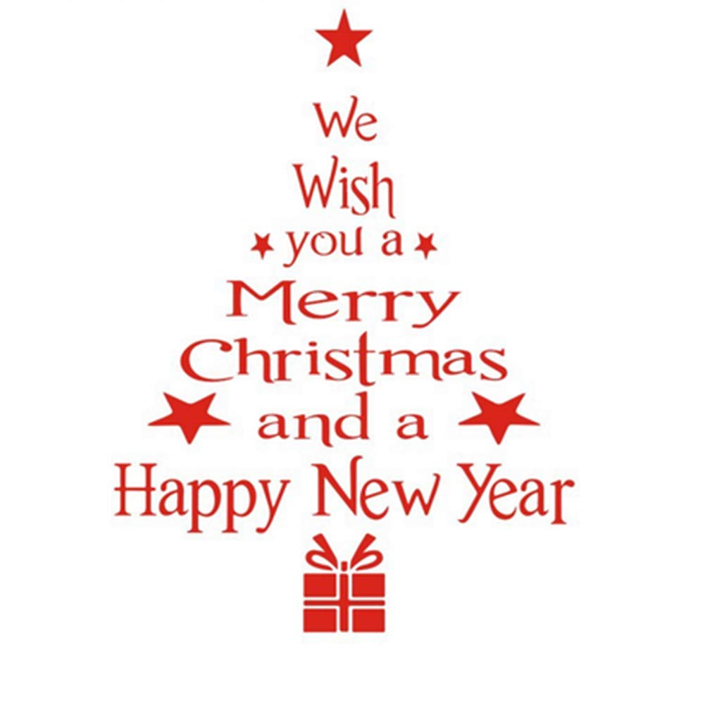 Sungpunet Wall Stickers We Wish You Merry Christmas a Happy Year Window Sticker Letter Tree Design Wall Sticker Decals Window Door Xmas Home Shop Decorations (Red)