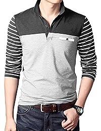 Men's Long Sleeve Polo Shirt Slim Fit Casual Short Sleeve Polo T Shirt