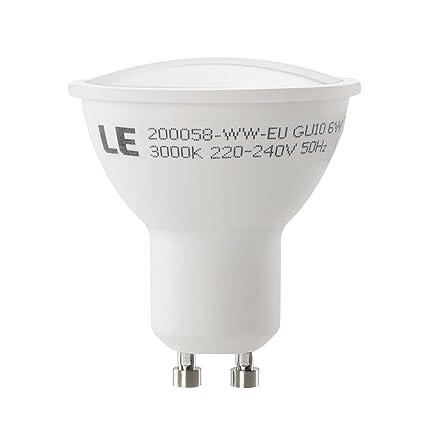 LE Bombilla LED 6 Watt GU10, Igual a Bombilla Halógena de 75 Watt, 510lm, Blanco Cálido, Luz de Inundación, Paquete de 5 Unidades: Amazon.es: Iluminación