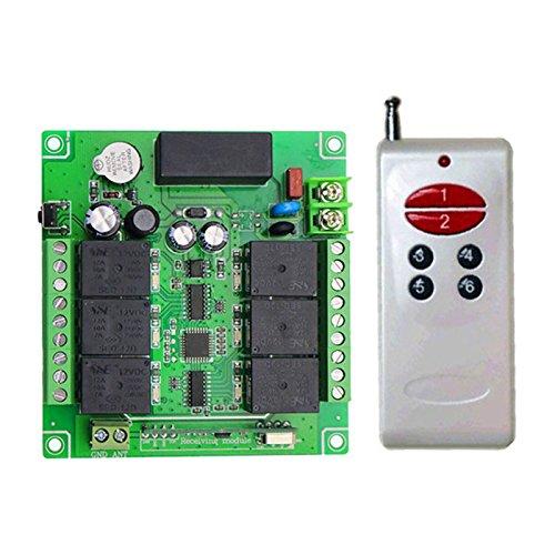 Lejin AC 6 Channel 6CH AC110V 220V 240V Radio Receiver Radio Remote Control Wireless Remote Control Radio Control Garage Door Controller 10A 433MHz Light Motor Remote Control Switch 100M 200M range by Lejin