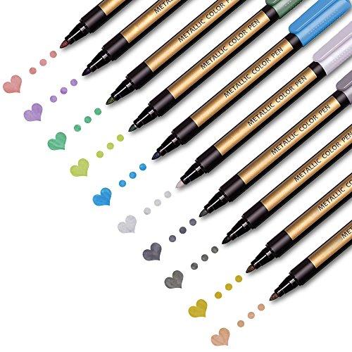 Pens Craft Kit - Metallic Paint Pens for Rocks Painting, Scrapbook, Photo Album, Glass, Metal, Ceramic, Craft Making Supplies Kids. Water-Based Metallic Marker Pens Fine Point Permanent.10 Assorted Metallic Colors/Set