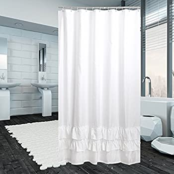 Luunaa Extra Thicken Premium Quality Ruffle Shower Curtain Polyester Fabric Mildew Resistant Anti Bacterial Non Toxic Washable 72x80 White