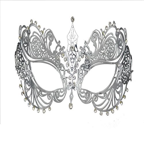 ONLY COS Girls Venice Carnival/Nightclub/ Gold and Silver Metal Sexy Mask For womens (Silver) (Couples Sexy Costume)