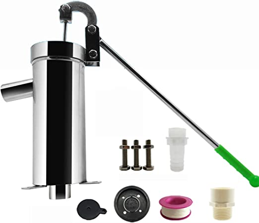 T-king Stainless Steel Home Manual Water Pump Domestic Oil Pump Well Hand Shake Suction Pump Thickness 1.3MM Lift 10M