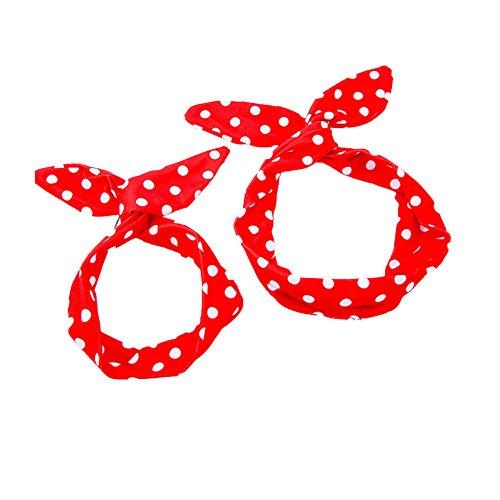MineSign Women Baby Headband Bowknot Retro Wired Hair Bands (Red Polka Dot)