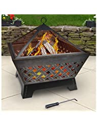 Landmann 25282 Barrone Fire Pit with Cover, 26-Inch, Antique ...
