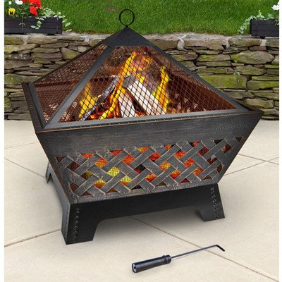 Landmann 25282 Barrone Fire Pit with Cover, 26-Inch, Antique Bronze (Outdoor Living Brentwood)