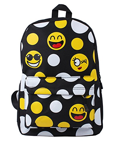 Minetom Lona Backpack Mochilas Escolares Mochila Escolar Casual Bolsa Viaje Moda Expresión Facial Emoji Mujer Negro