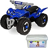 Yamaha ATV Kids Ride On Quad Push Toys for Toddler Boys, Blue with Baby Wipes