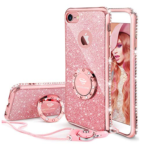 iPhone 6s Plus Case, Glitter Cute Phone Case Girls with Kickstand, Bling Diamond Rhinestone Bumper Ring Stand Thin Soft Protective Pink Apple iPhone 6 Plus, 6s Plus Case for Girl Women - Rose Gold