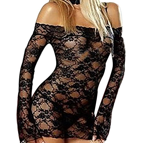 Price comparison product image one_day Swimwear Womens Off Shoulder Lingerie Corset Lace Long Sleeve Beach Smock Mini Dress With Underwear Sleepwear (Free Size, Black)