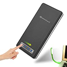 Hoowvii 11400 Mah Portable Backup Battery Charger,External Battery Pack with Dual USB Ports-Leather Surface Power Bank for iPhones, Androids, Tablets & More-Black