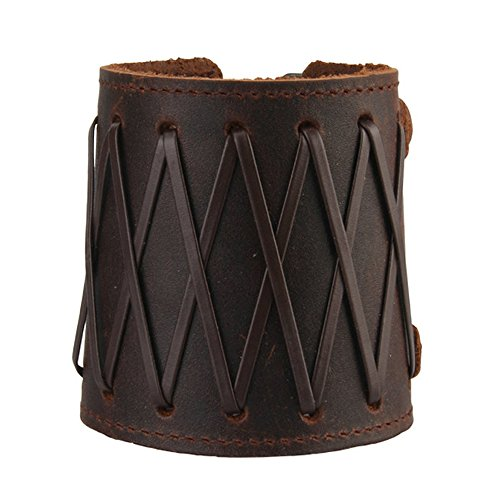 Jenia Wide Punk Rock Genuine Leather Wristband Bracelet Braided Cuff Bangle Unisex Couple