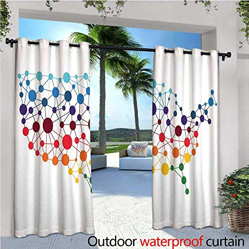 "Map Outdoor Privacy Curtain for Pergola Dotted Map of United States Colorful Spotted Network Abstract Connected Country Design Thermal Insulated Water Repellent Drape for Balcony W84"" x L84"" Multicol from cobeDecor"