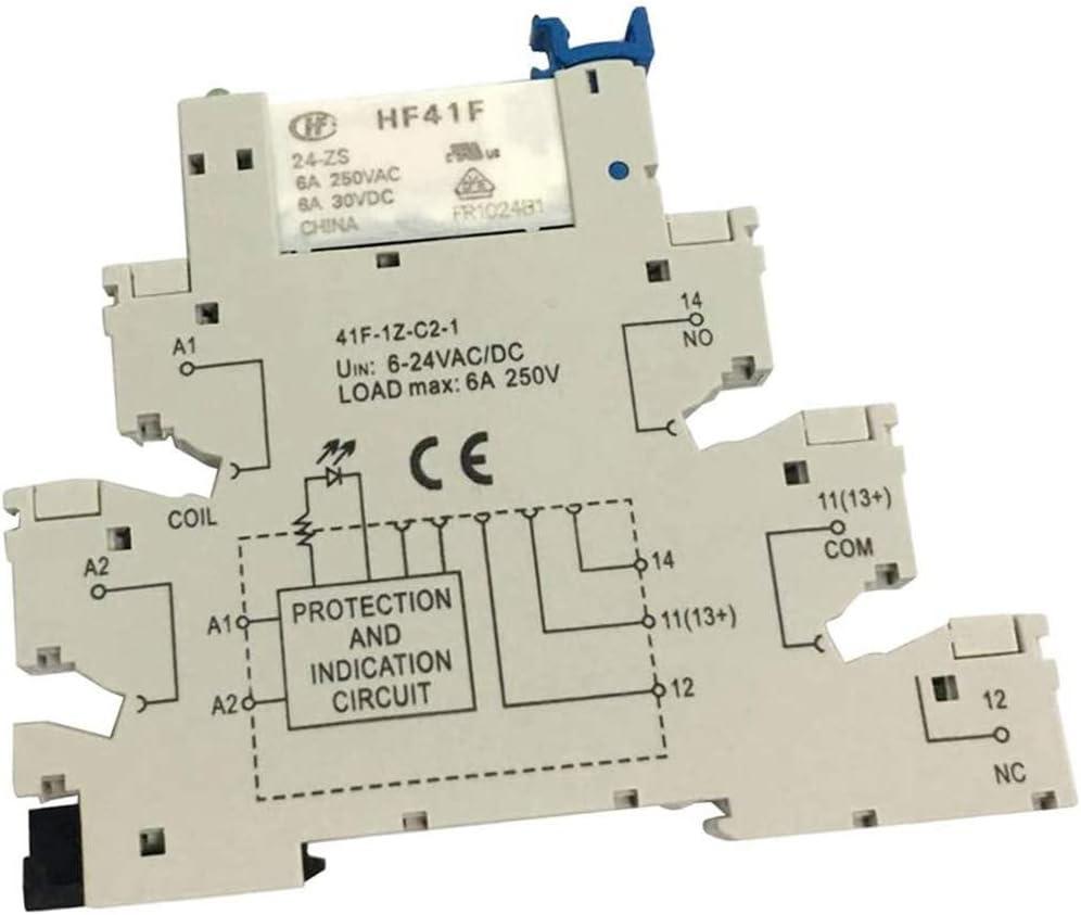 POFET Hongfa HF41F PCB relé montaje de 5 pines enchufe de relé 6-24 V AC/DC 6A 41F-1Z-C2-1 accesorios industriales