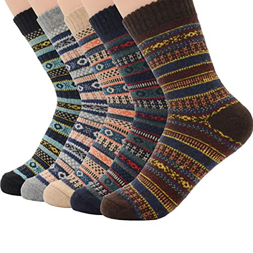 Century Star Womens Ultra Light Thermal Cashmere Wool Full Cushion Crew Cute Winter Socks 5 Pairs Gift Multicolor