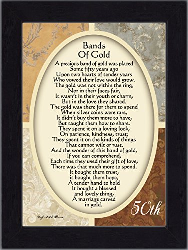 Vintage Bands of Gold, Poem celebrating a couples 50th anniversary, 7x9 77979BC (50th Wedding Anniversary Poem)