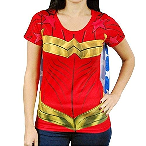Womens Superhero Shirts With Cape (Wonder Woman Cape Shirt Wonder Woman Cosplay DC Wonder Woman Tshirt - Wonder Woman Cape Tee Wonder Woman)