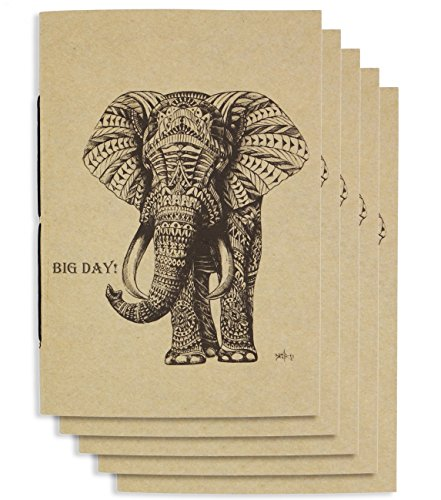 Handmade 4 x 6 inches Notebook / BigDay Elephant / 60 Unlined Page | Lay Flat Binding | Cream Paper – Set of 5