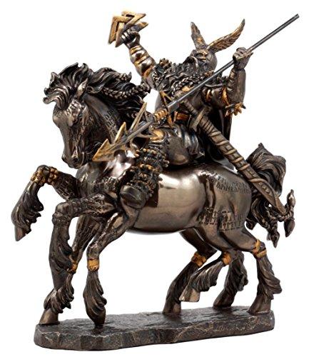 Ebros Gift Norse Viking God Battle Cry Alfather Odin Riding On Sleipnir to Hel Figurine 9 L Gods of Mythology Asgard Father of Thor Ragnarok Decor Statue