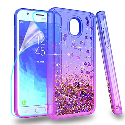 Zingcon Suit for Samsung Galaxy J3 2018 Phone Case,Galaxy J4,J337 Glitter Quicksand Case,with HD Screen Protector,Shockproof Hybrid Hard PC Soft TPU Adorable Shine Protective Cover-Blue/Purple
