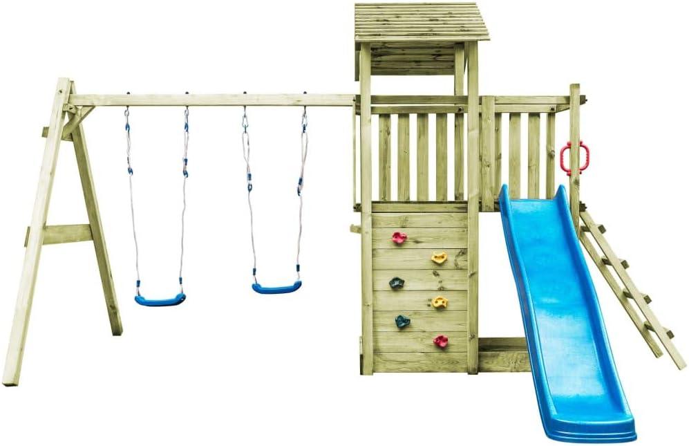 yorten Juegos de Madera de jardín Exterior, casa con Escalera tobogán y Columpio para niños, 471 x 356 x 265 cm, Madera FSC: Amazon.es: Hogar