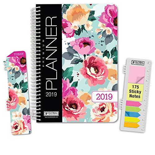 HARDCOVER Calendar Year 2019 Planner: (November 2018 Through December 2019) 5.5x8 Daily Weekly Monthly Planner Yearly Agenda. Bonus Bookmark, Pocket Folder and Sticky Note Set (Spring Bloom)