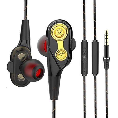 Wired In Ear Earphones Noise Cancelling Earbuds with Mic for iPhone 8/8 plus/7 Plus/7/6s Plus/6s/6 Plus/6/5s/5c/5 Smart Android Cell Phones Samsung etc-Black