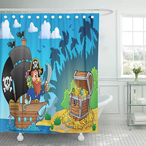 Semtomn Shower Curtain Water Box Pirate Treasure Chest Coast Bone Buccaneer Coin Shower Curtains Sets with 12 Hooks 72 x 72 Inches Waterproof Polyester Fabric]()