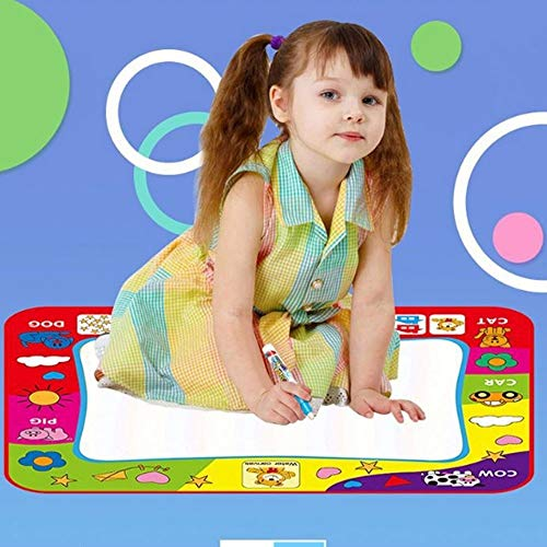 Weastion Educational Toys Graffiti Blanket Baby Colors Canvas with Magic Pens Painting Writing Doodle Board Toy Child Magical Water Canvas Mat for Age 1-12 Years Old Girls Boys Toddler - 78 Colour