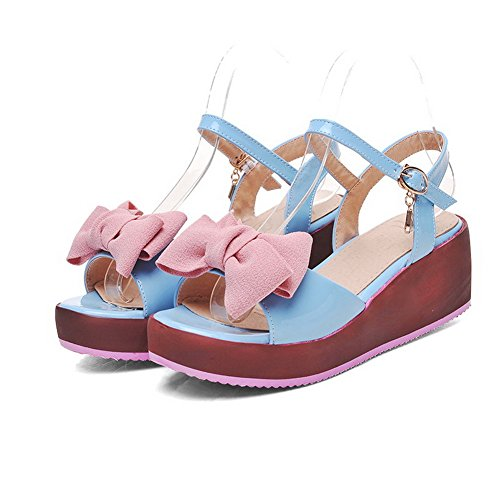 AmoonyFashion Womens Kitten Heels Solid Buckle Open Toe Sandals Blue ZPZNVVT