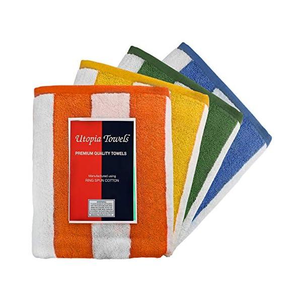 Utopia Towels - 4 Telo mare, Asciugamani da spiaggia, motivo a righe - 100% cotone (76 x 152 cm, Varieta) 5 spesavip