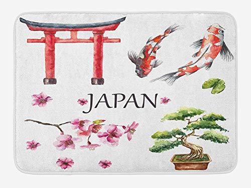 Koi Fish Bath Mat, Eastern Culture Symbols Tori Gate Sacred Carp Sakura Branch, Plush Bathroom Decor Mat with Non Slip Backing, 23.6 W X 15.7 W Inches, Dark Coral Magenta Dark Green