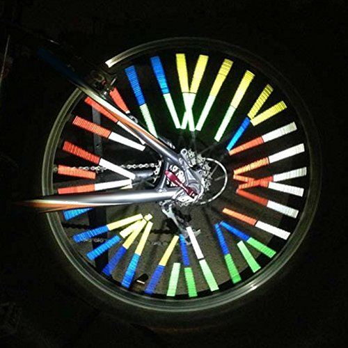 Cocohot Super Cool Colorful Bicycle Bike Cycling Wheel Spoke Light Stainless Steel Spoke Skins Covers Coats Wrench Tool Reflector Reflective Mount Clip Tube Warning Strip