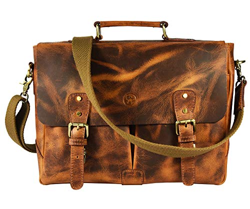 Messenger Bag for Men and Women | Shoulder Bag with Multiple Compartments Zippered Pockets School Bag (Caramel)