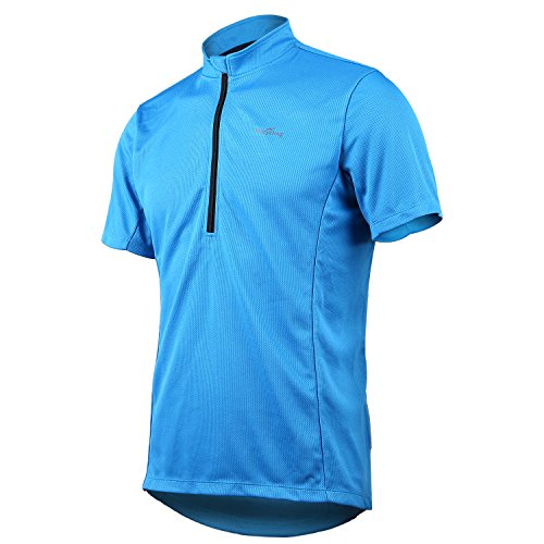 (Short Sleeve Cycling Jersey Men's Quick Dry Basic Shirts Blue 2XL)