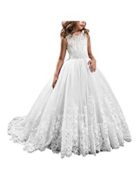 2d9b004c9 APXPF Long Tulle Flower Girl Dress Pageant Dresses Kids Prom Puffy Ball Gown