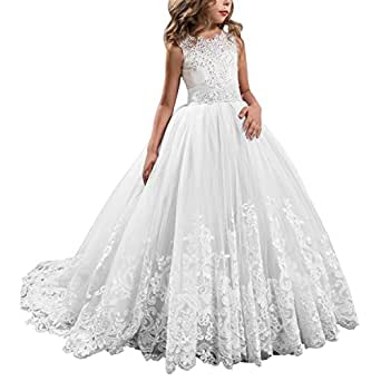 Kissangel Ivory Long Lace Flower Girl Dresses