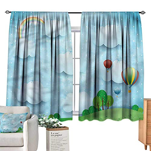 (WinfreyDecor Kids Blackout Curtains Balloons Clouds Stars Hill Noise Reducing 55