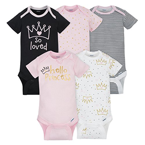 Gerber Baby Girls 5 Pack Onesies, Princess, 6-9]()