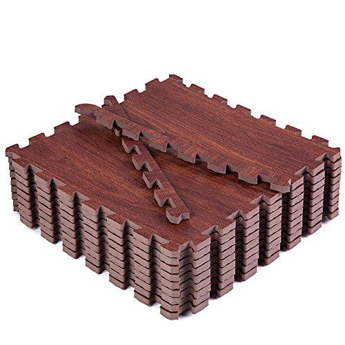 Eva Foam Floor Mat, Superjare 9 Tiles (9 tiles = 9 sq.ft) Interlocking Flooring Tiles, with Borders Dark Wood Grain