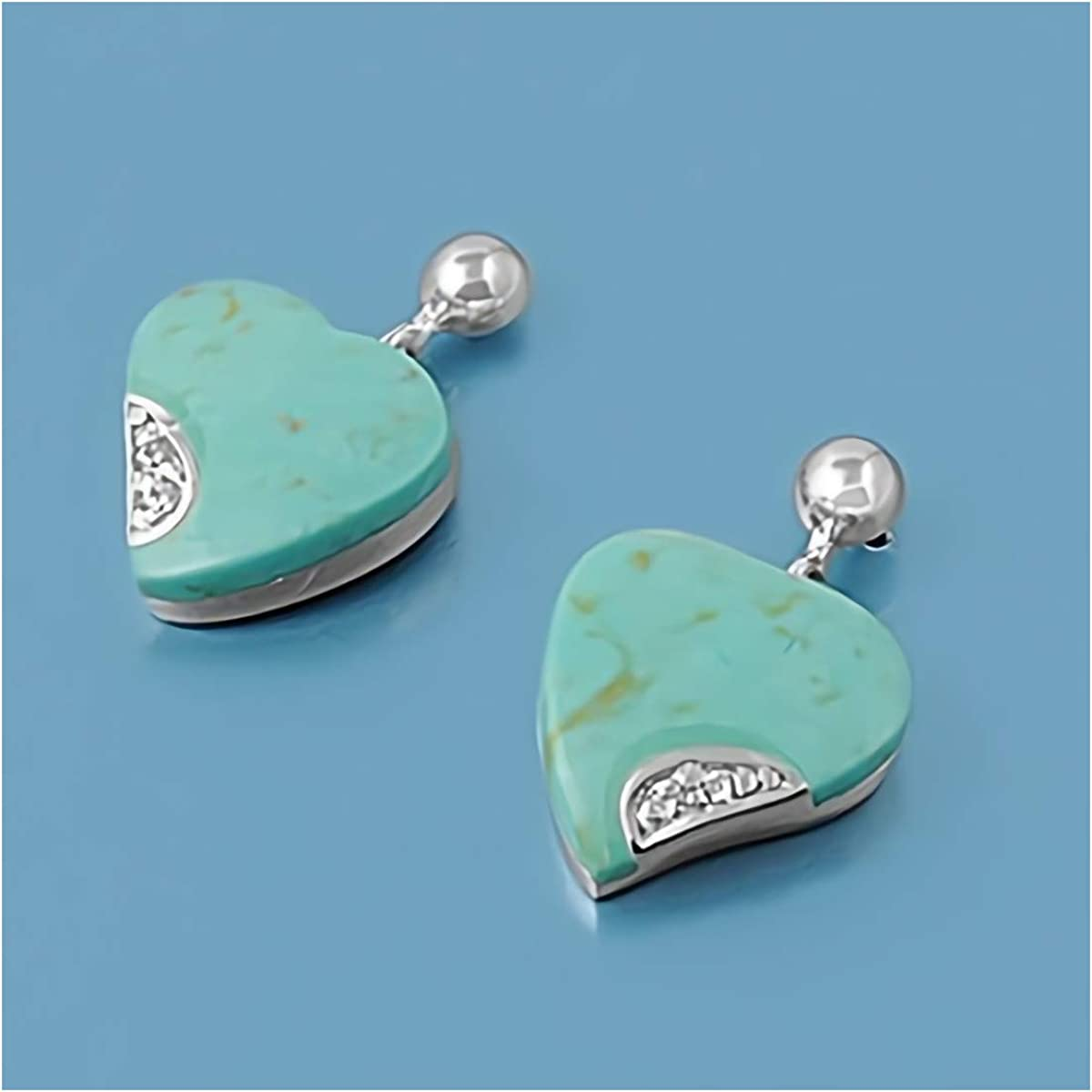 Blue//Green Glitzs Jewels 925 Sterling Silver Pendant with Stone in Gift Box